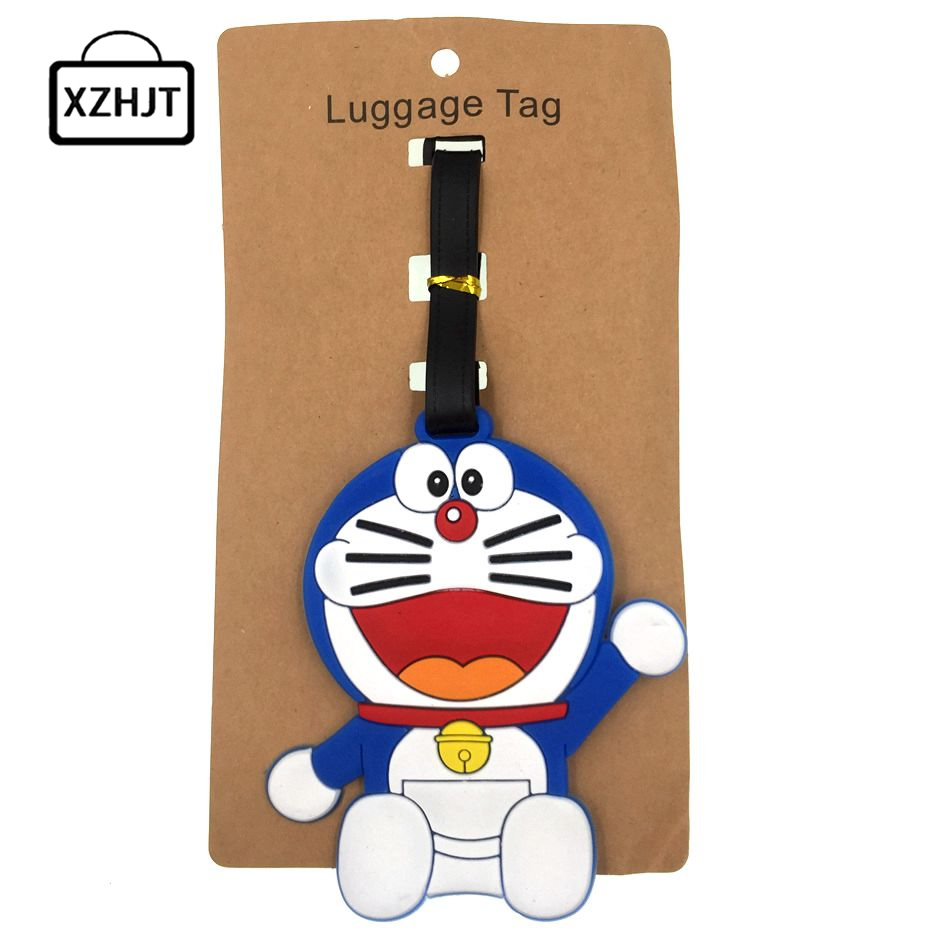 Cartoon Doraemon Luggage Tag Women Travel Accessories Silica Gel Suitcase ID Address Holder Baggage Boarding Tag Portable Label