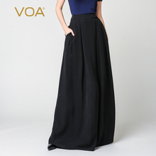 VOA black wide lig pants for women solid loose pleated skirt trouser ladies bohemian silk s-5xl plus size K7318