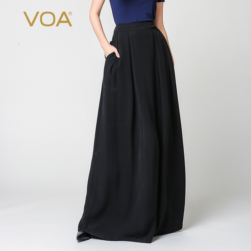 VOA Silk Plus Size Loose Palazzo   Pants   Black Casual   Wide     Leg     Pants   High Waist Trousers Women Vintage Pantskirts Broeken K7318