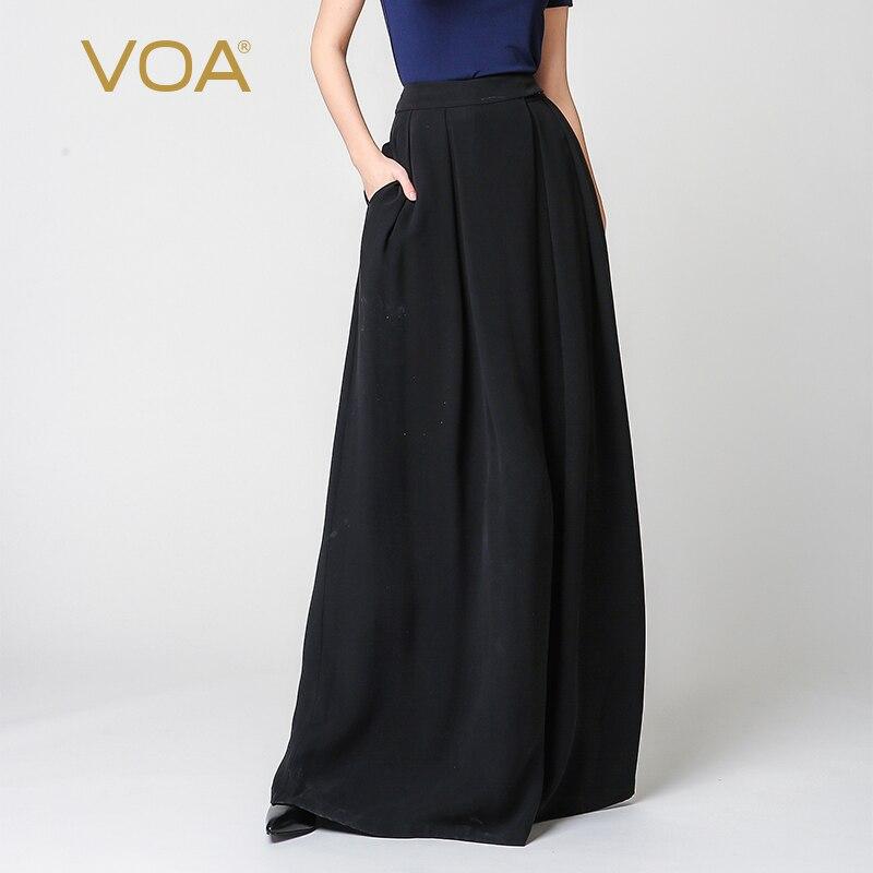 Voa шёлковый плюс Размеры свободные брюки черный Повседневное Широкие штаны Высокая Талия Брюки Для женщин Винтаж Pantskirts Broeken K7318