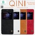 Nillkin Qin genuino Cubierta Del Caso Del Tirón de Cuero real Para Huawei Honor V8 magnético Ventana de Smart Sleep Libro Wallet + Envío Vidrio templado