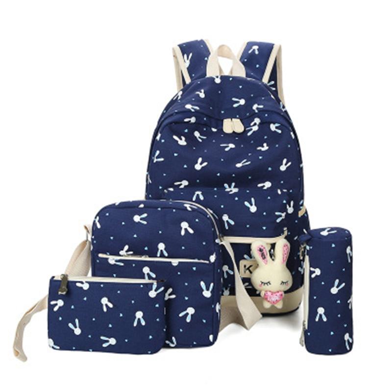 Fashion 4 sets Backpacks for Teenage Girls Korean Style Casual Children School Bag Printing Travel Shoulder