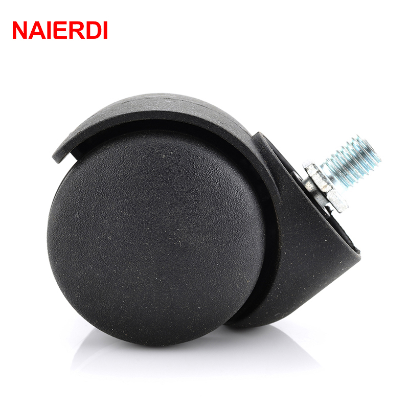 NAIERDI 2 Universal Casters Black Mute 360 Degree Swivel Screw Thread Wheels For Office Chair Home Stool Furniture Hardware free shipping 1 5 inch screw universal wheel black rubber wheels m8 25mm round table furniture mute screw bookcase foot wheel
