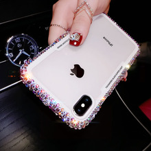 Luxury glitter Bling diamond phone case for iphone 7 8 6 6S plus Fashion Designer For iPhone X XR XS MAX Transparent Hard Case