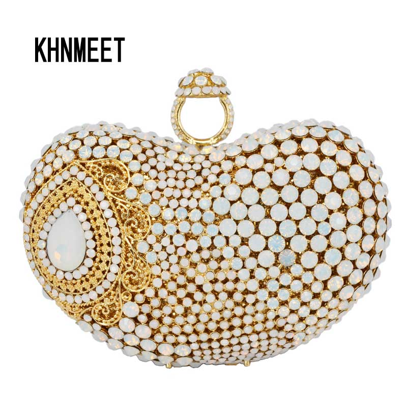 Newest finger ring Gold Metal Clutch Bag Wemen Wedding White Party Prom Evening Bag water drop Pattern banquet Handbag SC428 newest design evening bags ring diamond clutch chain shoulder bag purses wedding party banquet bag blue gold green red 88621 d