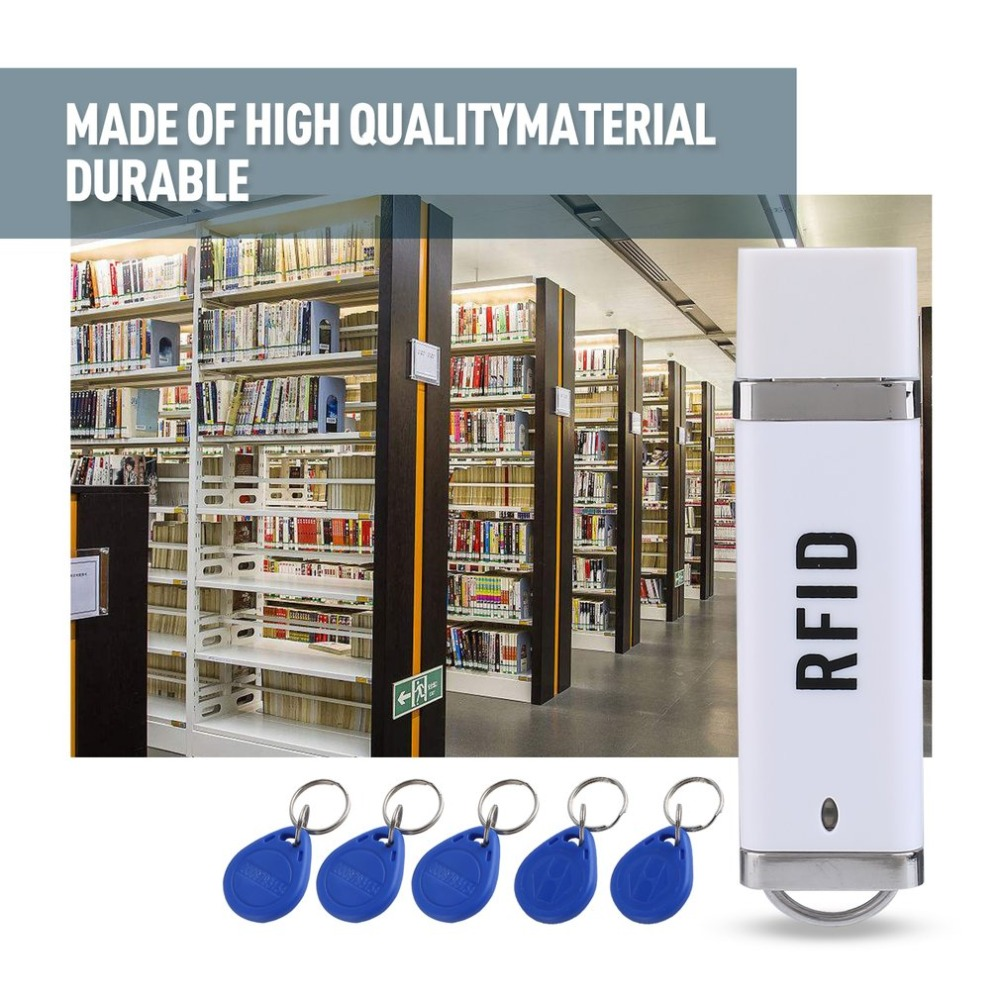 Portable RFID 125KHz Proximity Smart EM Card USB ID Reader + 5 ID Key Buckles For Win XP/CE/7/10/Vista/Android free shipping mini portable rfid 125khz id card reader smart em card usb id card support reader win8 android otg smartphone
