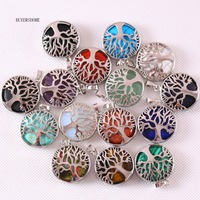 Silver Color Tree of life Round Natural Stone Bead Crystal Lapis Opal Onyx Howlite Sandstone Tiger's Eye Necklace Pendant 10Pcs
