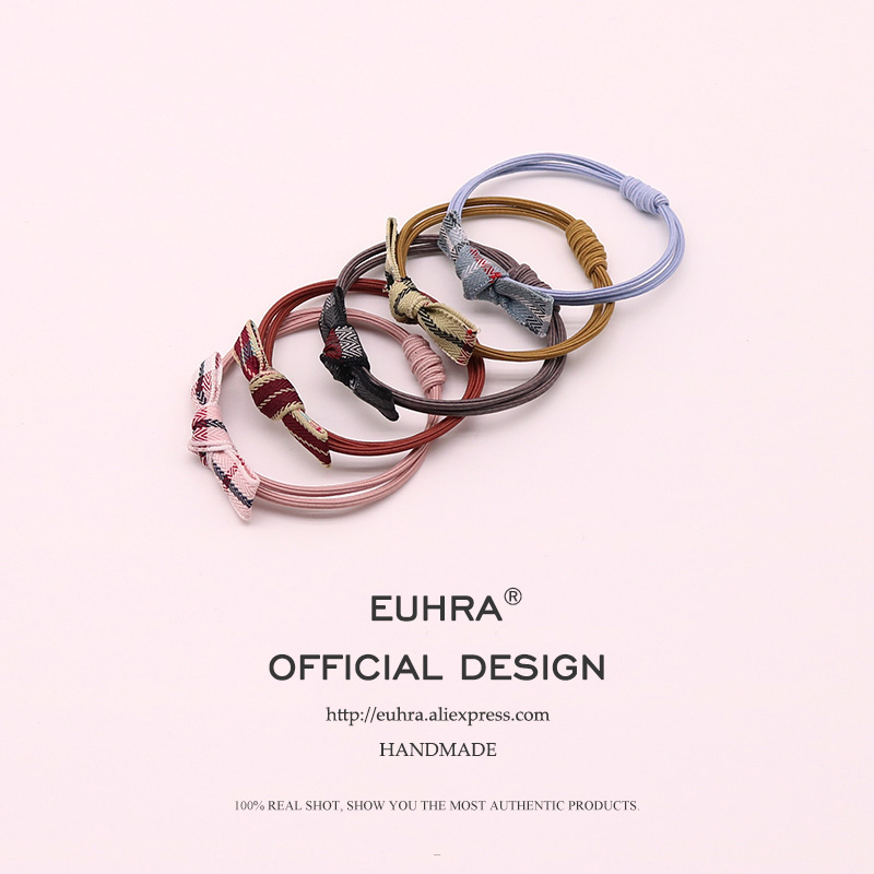 EUHRA 5 Colors Elastic Hair Bands Canvas Stripes Bow-knot Hair For Women Girls Hair Band Kid Children Rubber Band