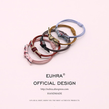 EUHRA 5 Colors Elastic Hair Bands Canvas Stripes Bow-knot For Women Girls Band Kid Children Rubber
