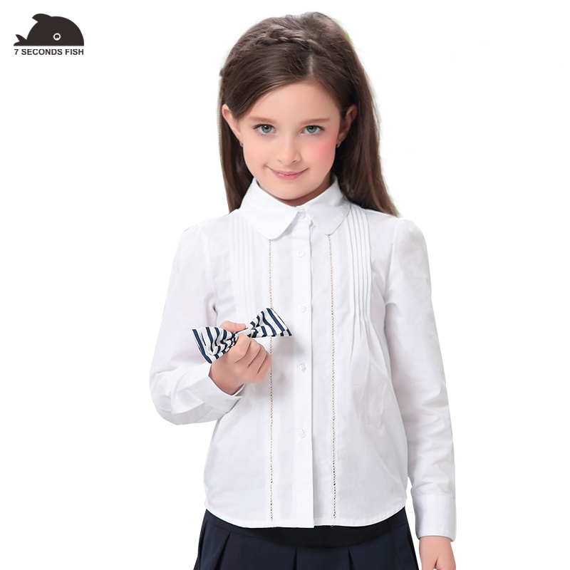 girl shirt autumn white long sleeve cotton blouses fashion Wrinkle girl tops for 5-8-12 years old kids for girl shirt classic original white gothic lolita shirts 18th century long flare sleeve cotton lace lolita tops blouses for 2018