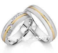 Élégant style européen or couleur acier chirurgical santé titane de fiançailles de mariage CZ diamants anneaux pour hommes et femmes