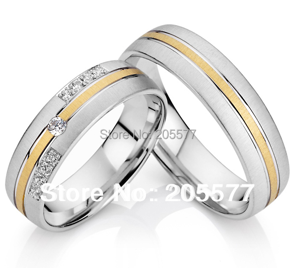 Elegant european style gold plated surgical steel health titanium engagement wedding CZ diamonds rings for men and women