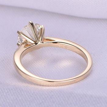 10 كيلو الذهب الأصفر 1.0ct 6.5 ملليمتر جولة قص g المويسانتي خاتم الخطوبة الذكرى الدائري المويسانتي الدائري للنساء 1