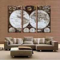 3 Pieces Canvas Wall Art HD World Map Vintage Canvas Painting Modern Office Artwork Map Of