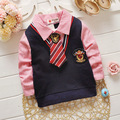 Kids boys shirts 2016 summer new arrival long sleeve tie blouse children retail free shipping