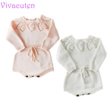 2019 Baby Girls Spring Long Sleeve Rompers Lovely Floral Clothes For New Kids Crochet Toddler Knit Romper