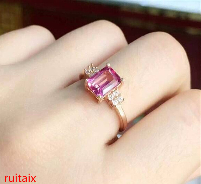 KJJEAXCMY Fine Jewelry  925 Sterling Silver Inset Pink Topaz Ring Gold And Silver Color Female.ASD