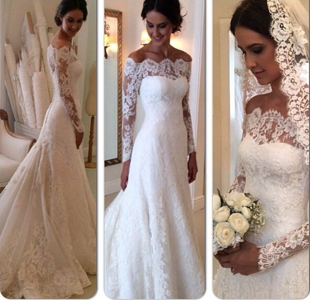 Best Selling Wedding Dress Long Sleeves Lace Vintage Mermaid Style Fall Fashion 2017 Vestidos De Novias