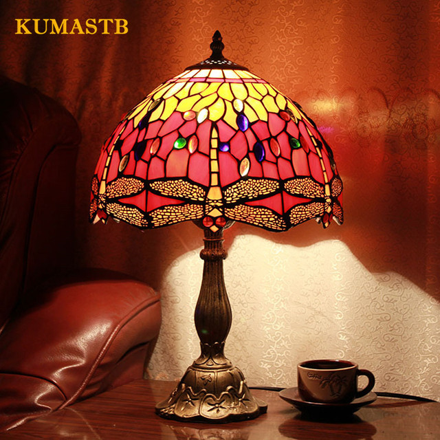 European Past Tiffany Lighting Bedside Table Lamp Bedroom Living Room Study Light Cafe Red Dragonfly Lamps