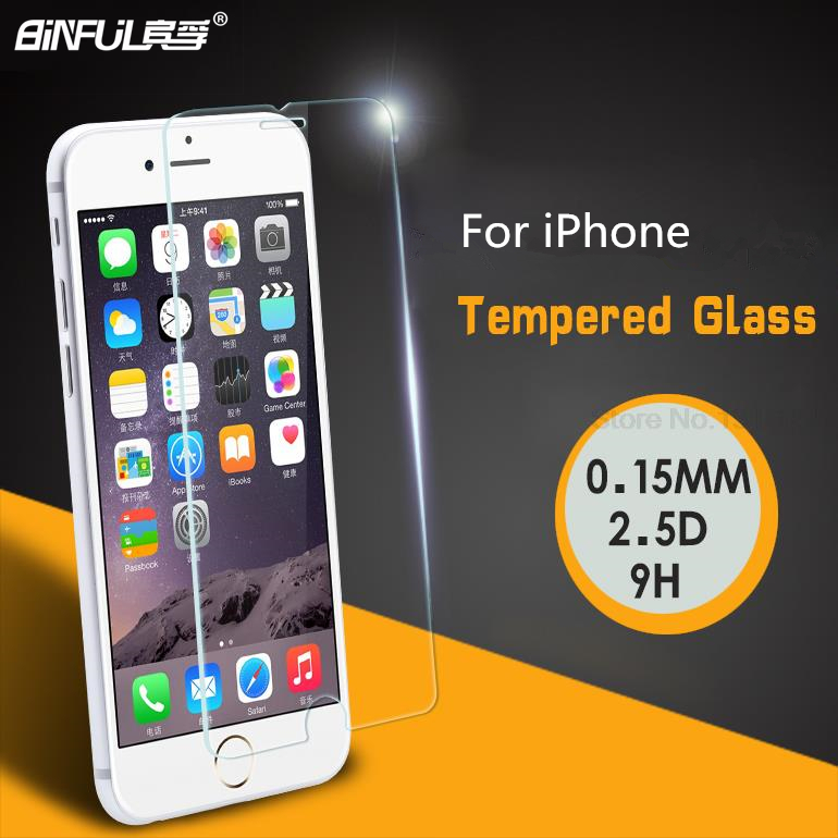 BINFUL Ultra Thin 0.15mm 9H 2.5D Tempered Glass Protective Film For iPhone 5 6 s 7 Plus 6Plus Screen Protector With Retail Box