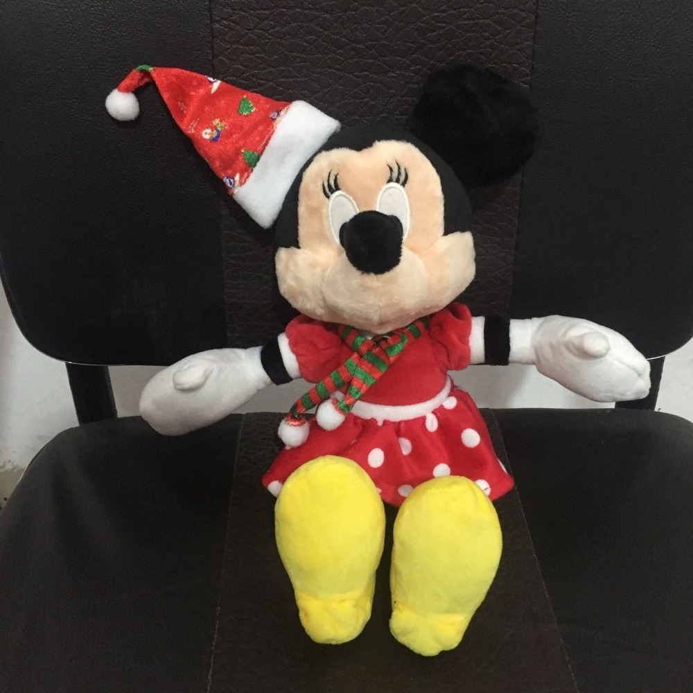 30cm Red Minnie Mouse Plush Toys Kids Christmas Gift Minnie Wearing Christmas Hat Scarf Stuffed Animal Doll Home Decorations