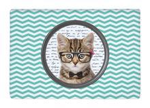 Floor Mat Cute Cat white dot Aquamarine Chevron Print Non slip Rugs Carpets alfombra For font