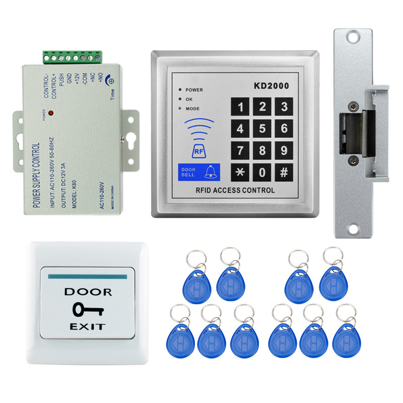 access control system kit set Rfid keypad code keypad with strike lock+power supply +door switch+10 key fobs high quality rfid standalone access control keypad 125khz card reader door lock with 10 proximity key fobs for door security system k2000