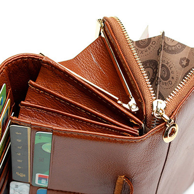 Hot Selling Fashion Women 3 Fold Genuine Leather Wallet Patchwork Hasp Coin Pocket Clutch Wallets Purse  -B5