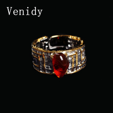 Venidy Female Natural Resizable Opal Ring Fashion Red 925 Sterling Silver Jewelry Vintage Wedding Rings For Women Birthday Stone
