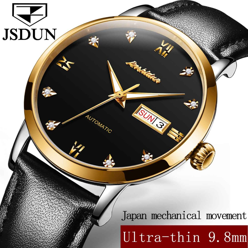 JSDUN Gold Case Men Automatic Watches Roman Numerals Dial Thin Diamond Mechanical Wristwatches Business Date and Week Diaplay