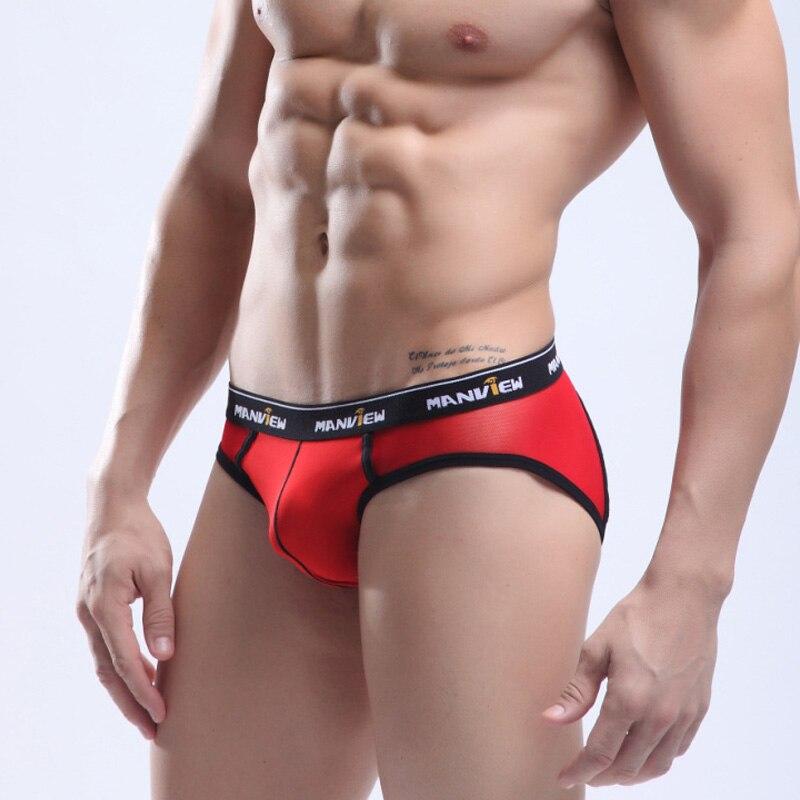 Manview Mesh Back berifs Soft Nylon Front Cueca Transparent Mens Sexy Underwear