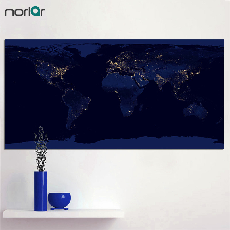 Hd Printed Nightscape Map Satellite Images Of Earth At Night Canvas