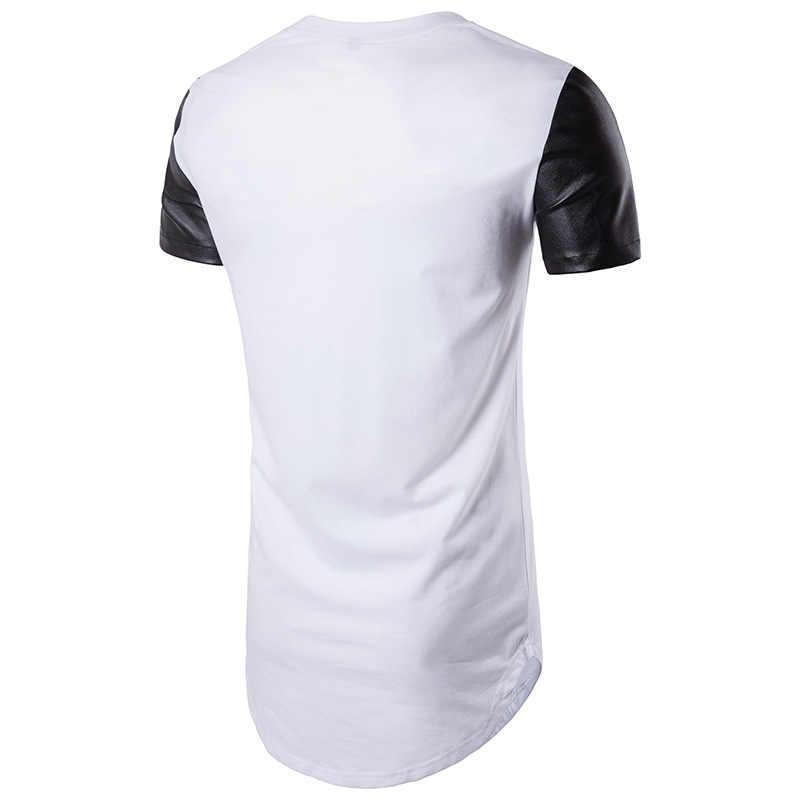 Удлиненная футболка Здравствуйте рукавами из искусственной кожи для, коллекция 2017 года, Homme, Повседневная Здравствуйте рукавами Hi p Hop» Здравствуйте Мужская футболка Здравствуйте с короткими рукавами в стиле «Hi rt уличная мода, летняя футболка, Camisetas
