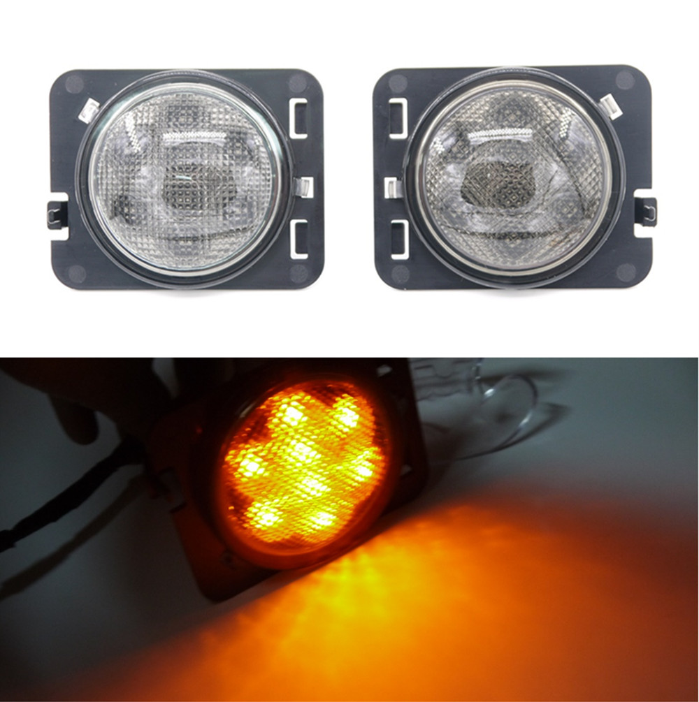 2PCS/Pair 8 SMD LED Light Front Fender Flares Turn Signal Light for Jeep Wrangler JK 2007~2015 LED Side Marker Lamp 4pcs black led front fender flares turn signal light car led side marker lamp for jeep wrangler jk 2007 2015 amber accessories