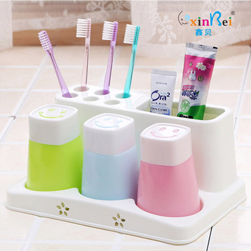 Plastic Bathroom Set Accessories 4Pcs/Set Tumbler Toothpaste Toothbrush  Holder Stand Storage Rack Bathroom Decorate In Bathroom Accessories Sets  From Home ...