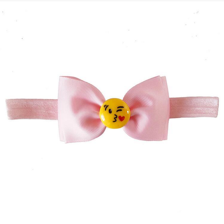 200pcs lot Emoji hair bow Emoticon clip Smiley face bow Pink hair bows Hair bows for
