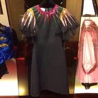 מסלול הקיץ וינטג שחור מבריק פאייטים מיני בנות נשים סקסיות צוואר שרוול קצר מיני שמלות המפלגה טוניקת בגדי Vestidos