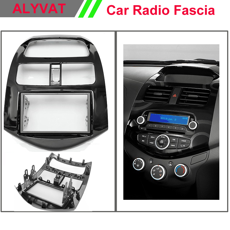 Car Dash Frame Radio Fascia for Chevrolet Spark Beat Daewoo Martiz 2010 AutoStereo Panel kit CD Trim Installation Car Detector