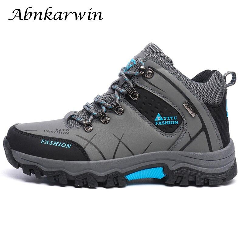 Nova chegada grande tamanho dos homens tênis para caminhada ao ar livre impermeável antiderrapante sapatos de escalada homem high top tênis de trekking 39-45 46 47