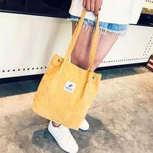 2018 Women Corduroy Canvas Tote Ladies Casual Shoulder Bag Foldable Reusable Shopping Bag Beach Bag Female Cotton Cloth Handbag