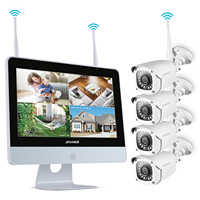 ANNKE 4CH 1080P HD WiFi Wireless NVR Video Security System 12inch LCD Screen 2MP Bullet IP Cameras Outdoor CCTV Surveillance Kit