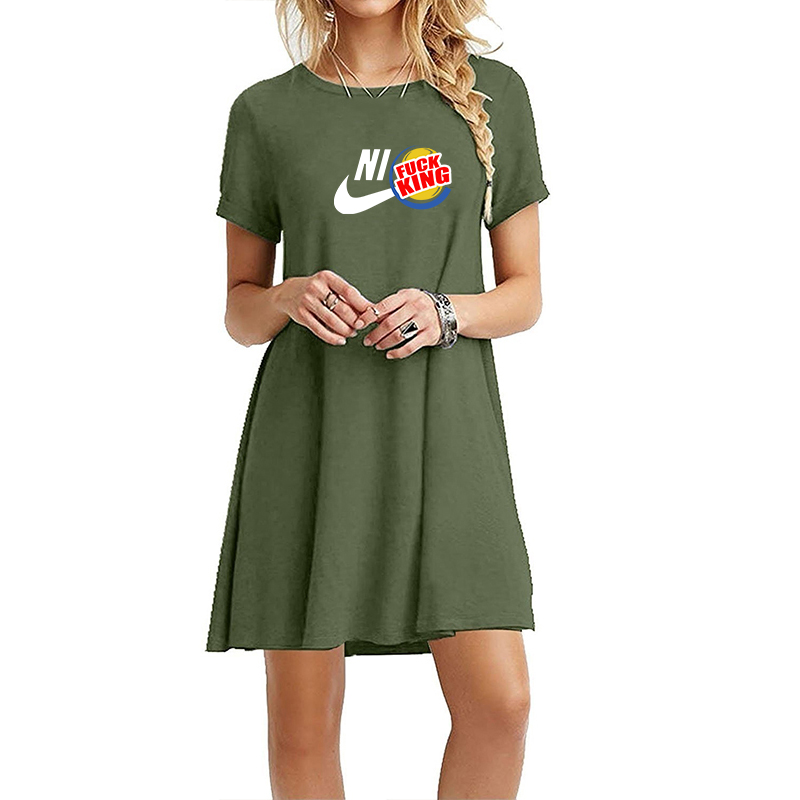 2019 Cotton Summer Dress Women Loose Plus size Casual Dress OL work Wear Print Beach Sundress dresses vestidos in Dresses from Women 39 s Clothing
