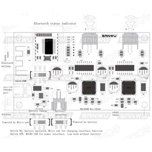 Image 2 - 2x6 W DC 5 V 3.7 V רמקול שונה סטריאו Bluetooth מגבר לוח יכול מחובר ליתיום סוללה עם תשלום ניהול A8 020
