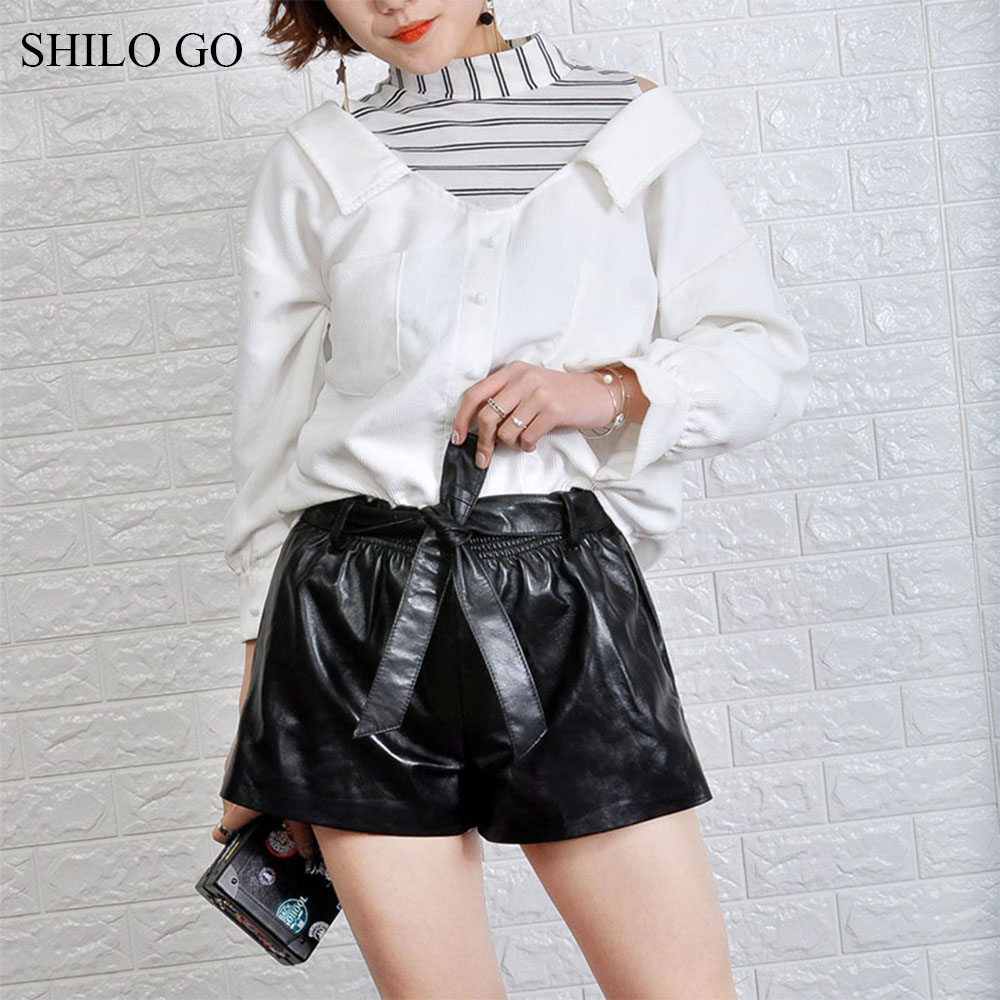 SHILO GO Leather Shorts Womens Spring Fashion Sheepskin Genuine Leather Shorts Bow Belt Stretch High Waist Loose Wide Leg Shorts