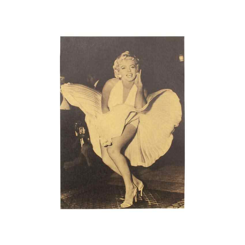 TIE LER Marilyn Monroe Sexy Lady Photo Kraft Paper Poster Retro Wall Art Living Room Decor Bar Cafe Wall Sticker 51.5x36cm