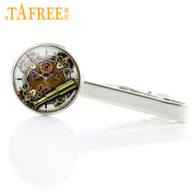 Machines Golden Gears image Steampunk Men Tie Clips Clock Movement Picture Tie Pin Sailing Compass image Necktie Clips Bar T290(China)