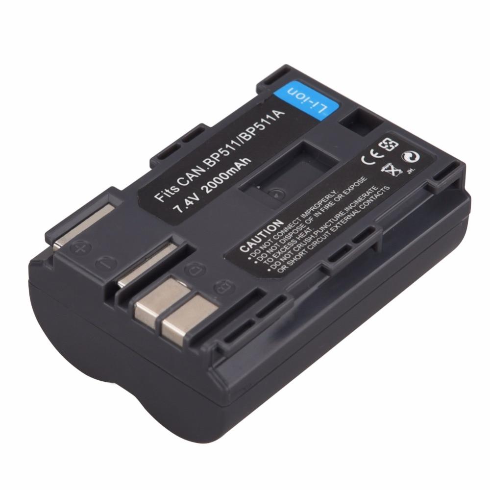 1x2000 Mah BP-511 BP511A BP511a BP-511A Appareil Photo Numérique Batterie Pour Canon EOS 40D 300D 5D 20D 30D 50D 10D D60 G6 Bateria