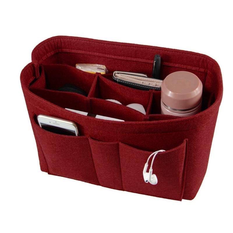 Bolsa de maquillaje de fieltro organizador insertar bolso organizador insertar bolsa de cosméticos de viaje multifuncional bolsa de aseo para niña bolsas de almacenamiento