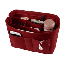 цена Felt Makeup Bag Organizer Insert Bag Handbag Organizer Insert Multi-functional Travel Cosmetic Bag Girl Toiletry Storage Bags в интернет-магазинах