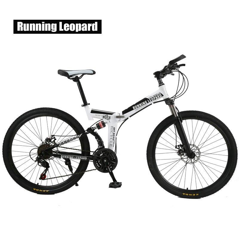Correr leopardo plegable bicicleta de montaña 26 pulgadas acero bicicletas de 21 velocidades doble disco frenos bicicleta de carreras bicicleta BMX Bik - 2